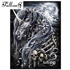 <b>FULLCANG Diy Diamond Painting</b> Night Skull Unicorn Mosaic 5d ...
