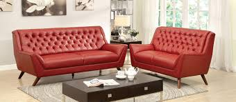 Button Couch 2 Pcs Red Button Tufted Sofa Set