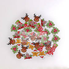 <b>200pcs Mixed</b> Wood <b>Christmas</b> Buttons 2 Holes <b>Xmas</b> Tree ...