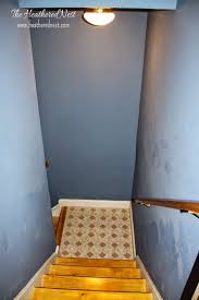 painted stripe stairway runner brightened up basement stairway makeover basement stairway lighting