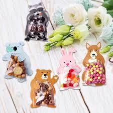 Online Shop 10pcs Jungle Animal Candy Bag Easter Rabbit Bear ...