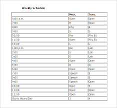 study schedule template –   free word  excel  pdf format download    weekly study schedule template printable