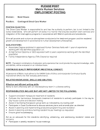 cover letter  childcare worker resume professional resume        matrix human services employment posting for contingent direct care worker position  childcare