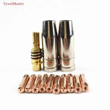 15AK contact tip <b>20pcs MIG torch</b> gun consumables 0.6mm 0.8mm ...