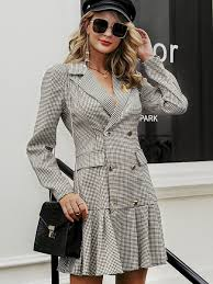 <b>Vintage</b> plaid <b>women</b> office <b>dress Elegant</b> autumn double breasted ...