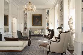 refined living room example of a classic living room design in new york with a library asian office furniture