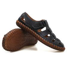 DSFGHE <b>Men Sandals</b> Summer Real Leather Toe for <b>Outdoor</b> ...
