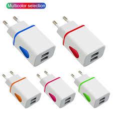EU Plug Two USB Port LED Light Mobile <b>Phone Charger Adapter</b> ...