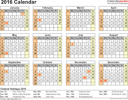 calendar printable word calendar templates template 8 2016 calendar for word year at a glance 1 page