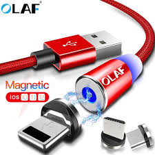 <b>OLAF</b> Magnetic Cable LED <b>Nylon</b> Micro USB <b>Type C</b> Cable For ...