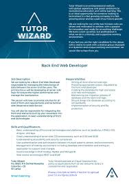 back end developer tutor wizard lk job image