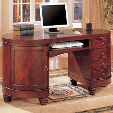 deep brown cherry finish kidney shaped classic home office desk brown finish home office