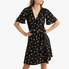 <b>Платье</b> на запах с цветочным принтом, <b>короткое</b> разноцветные ...