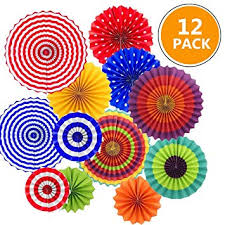 12pcs mexican party hanging paper fans flower fiesta decorations for birthday wedding circle backdrop