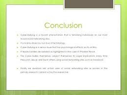 cyber bullying on social networking sites       conclusion cyber bullying