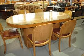 oval dining table art deco: an original light walnut art deco oval dining table with  chairs and protective glass top unusual oval table top with matching oval pedestals