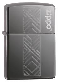 <b>Зажигалка ZIPPO Geometric</b> Pattern Logo с покрытием Black Ice ...