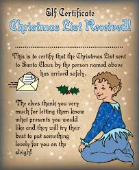 elf certificates rooftop post printables printable certificate from the elves saying a christmas list has been received