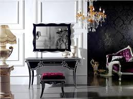 bedroom luxury vintage home furniture of small black white vanity plus black frame mirror and purple padded stool on the gray floor combine with nice orange beautiful home furniture ideas vintage vanity