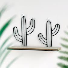 <b>Creative Wooden</b> Wall Storage Frame Iron Cactus <b>Wall Hanging</b> ...