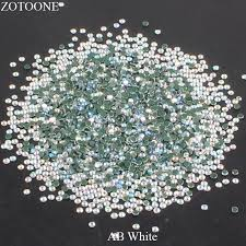 <b>Hotfix Flatback</b> Glass <b>White AB</b> Rhinestones Stones For Clothing ...