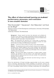 research paper the effect of observational learning on students research paper the effect of observational learning on students performance processes and motivation in two creative s