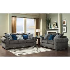 Two Loveseat Living Room Furniture Of America Ivy Grey Blue Modern 2 Piece Sofa Love Set By