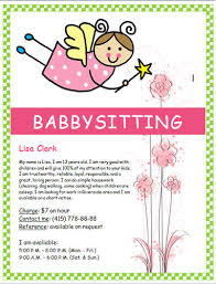 free babysitting flyer templates and ideas  make your own free babysitting flyer