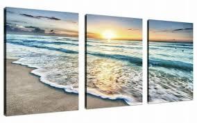 Qicai <b>3 Panel</b> Canvas Wall Art for Home Decor Blue Sea <b>Sunset</b> ...