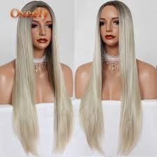 Oxeely Synthetic Lace Front Wig Clueless Straight 1BT613 <b>Ombre</b> ...