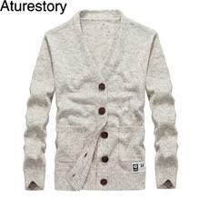 Aturestory, зимний шерстяной свитер для <b>мужчин</b>, <b>v</b>-<b>образный</b> ...