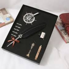<b>Retro Quill Feather Dip</b> Pen Writing Ink Set Stationery Gift Box with 5 ...