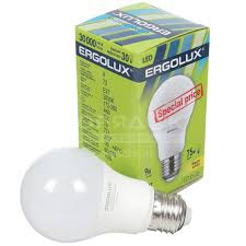<b>Лампа</b> светодиодная <b>Ergolux</b> LED-A60-<b>9W</b>-E27-3K 172-265В 9 Вт ...