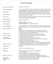 sample event planner resume     documents in pdfevent manager resume template