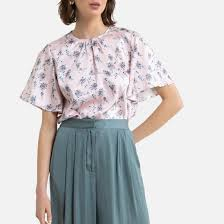 <b>Блузка</b> с круглым вырезом с цветочным принтом, короткие ...