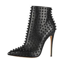 FSJ <b>Women Fashion</b> High Heel Ankle <b>Boots</b> with Rivets <b>Pointed</b> Toe ...