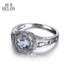 <b>HELON</b> 6mm Round Natural Aquamarine Ring Art Deco <b>925</b> ...