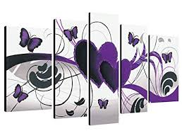 Wieco <b>Art</b> - Purple Love Butterfly 5 Panels <b>Modern</b> 100% <b>Hand</b> ...