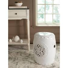 patio stool: safavieh flower drum white patio stool acsa the home depot