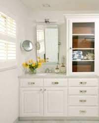 due to the size or position of some mirrors like the one designed by tobi fairley above sidelights are not an option and a fixture needs to go over the above mirror bathroom lighting