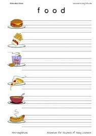ESL Vocabulary and Writing  Food  nd    rd Grade Worksheet
