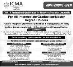 icma admissions open intermediate graduation admissions open 2015 icma intermediate graduation master degree holders finance business leadership 2014 15