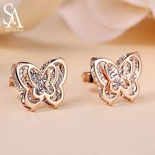 <b>SA SILVERAGE 18K</b> Yellow Gold Butterfly Double 3D Stud Earrings ...
