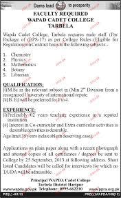 teaching staff and librarian jobs in wapda cadet college jobs teaching staff and librarian jobs in wapda cadet college