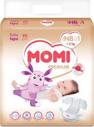 <b>Подгузники Momi Premium</b>, размер <b>NB</b>, 0-5 кг, 90 шт — купить в ...