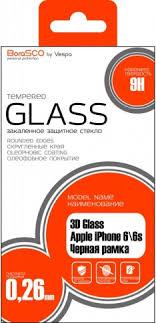 <b>Защитное стекло BoraSco</b> 3D Glass для iPhone 6/6S черная рамка