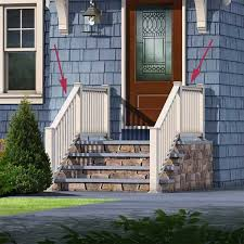 patio steps pea size x: front porch replacing the wrought iron railing for one made of low maintenance