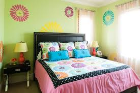 girls room decor ideas painting: amuzing green bedroom wall paint ideas for girls with cute wall decal furnished with medium bed and completed with twin table lamp on black nightstands