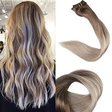 <b>Full Shine</b> Remy Clip in Hair Extensions 14inch <b>Ombre</b> Balyage ...