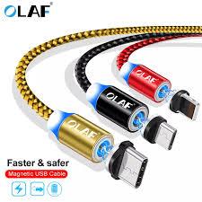 <b>OLAF</b> Magnetic Cable Braided <b>LED Type</b> C Micro USB magnetic ...